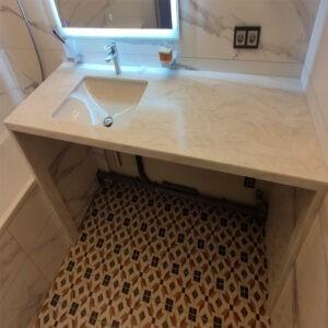 Столешница в ванную светлый мрамор под стиральную машинку